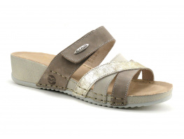 Fly Flot FERIANE - Beige Taupe Or - Mule compensee velcro