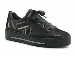 Softwaves 7-55-23 Stary Black - California - Sneakers noir brillant