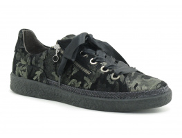 SoftWaves 7-01-03A - Noir - Camouflage kaki metal - Basket basse