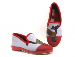 Ouf CHALIN  Rouge - Gris - Chat - Chausson Femme