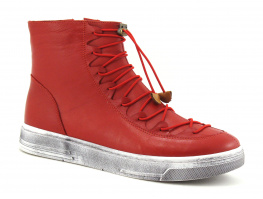 Lily Mood 26-1220 Red - Boots Femme cuir rouge - Elastique