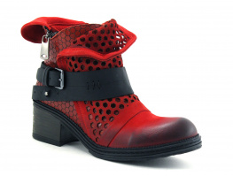 Lily Mood 050 5601 Red Nubuck - Bottine rouge Hexagones