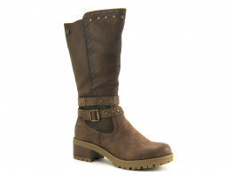 Xti 69186 taupe - Botte marron avec clous - Talon large